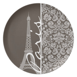 Dark Taupe, Brown Damask; Paris Plate