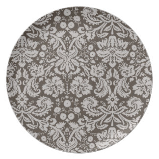 Dark Taupe, Brown Damask Pattern Melamine Plate