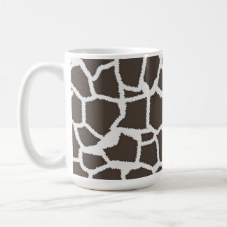 Dark Taupe Giraffe Animal Print Coffee Mugs