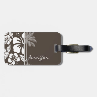 Dark Taupe Tropical Hibiscus; Summer Palm Tag For Luggage