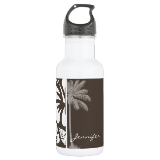 Dark Taupe Tropical Hibiscus; Summer Palm Water Bottle