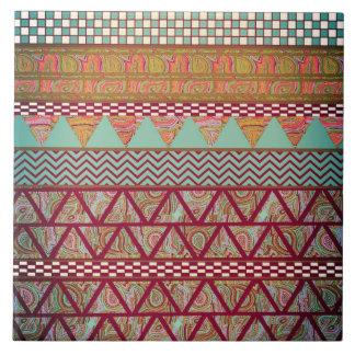 Dark Teal Amber Boho Tribal Stripes Pattern Ceramic Tile