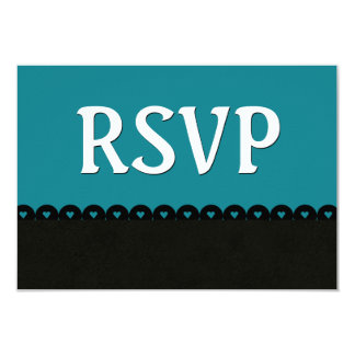 Dark Teal and Black RSVP Hearts Scalloped Lace V01 Card