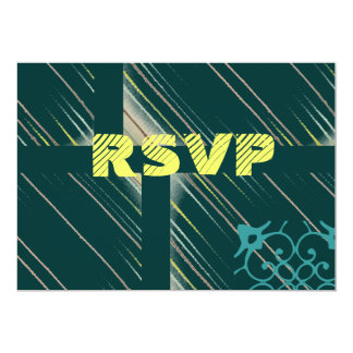 Dark Teal and Butter Yellow RSVP Card