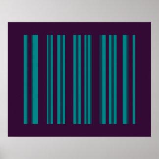 dark teal and dark purple stripes poster