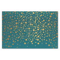 Dark Teal and Metallic Gold Confetti Tissue Paper
