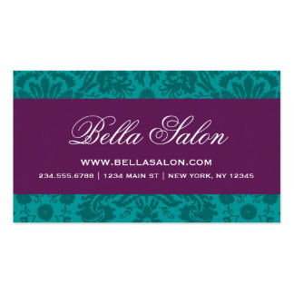 Dark Teal and Plum Purple Elegant Vintage Damask Business Card
