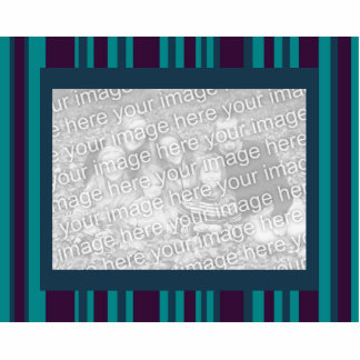 dark teal and purple striped photo frame standing photo sculpture