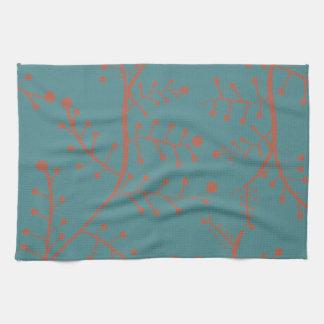 Dark Teal and Salmon Orange Tree Branch Pattern Hand Towel