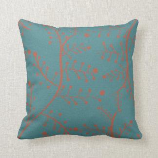 Dark Teal and Salmon Orange Tree Branch Pattern Pillow