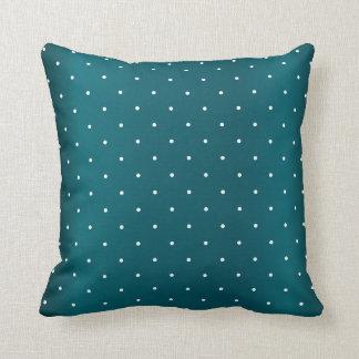 Dark Teal and Tiny White Polka Dots Throw Pillow