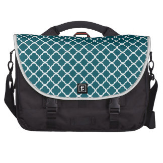 Dark Teal And White Quatrefoil. Moroccan Pattern Bag For Laptop