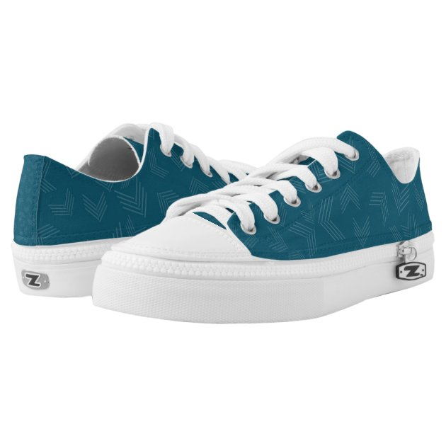 Dark Teal And White Zigzag Low-Top