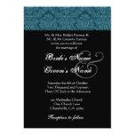 Dark Teal Black White Damask Wedding Invitation