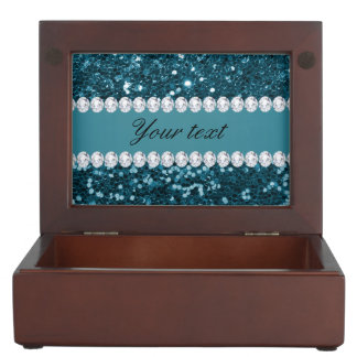Dark Teal Blue Faux Glitter and Diamonds Memory Box