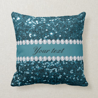 Dark Teal Blue Faux Glitter and Diamonds Throw Pillow