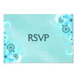 Dark Teal Blue Floral Elegant RSVP Response Cards