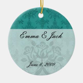 dark teal blue green distressed damask ceramic ornament