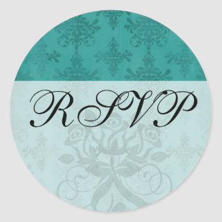 dark teal blue green distressed damask classic round sticker