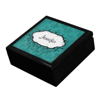 dark teal blue green distressed damask jewelry box