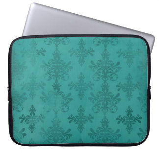 dark teal blue green distressed damask laptop computer sleeve