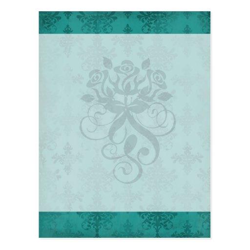 dark teal blue green distressed damask postcard