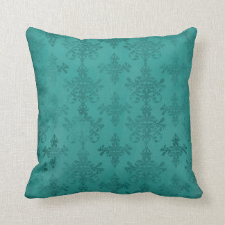 dark teal blue green distressed damask throw pillow