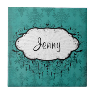 dark teal blue green distressed damask small square tile
