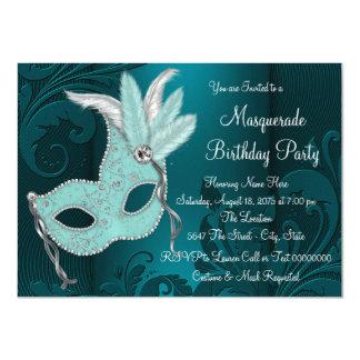 Dark Teal Blue Mask Masquerade Party Card