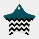 Dark Teal Blue Pattern On Large Zigzag Chevron Double-Sided Star Ceramic Christmas Ornament