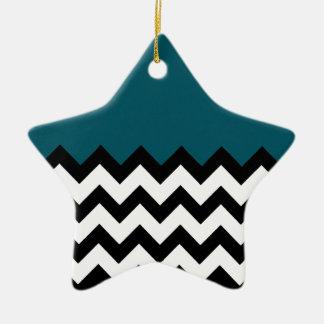 Dark Teal Blue Pattern On Large Zigzag Chevron Christmas Ornament