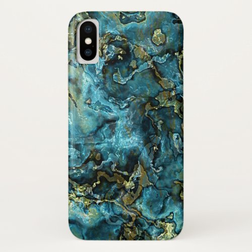 Dark Teal Blue Turquoise Faux Gold Agate Pattern Phone Case