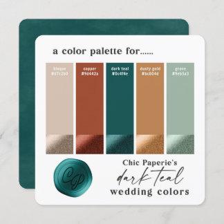 Dark Teal & Copper 2021 Wedding Color Palette Card