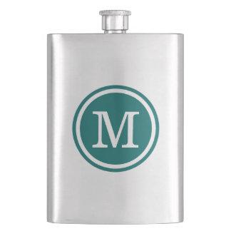 Dark Teal Custom Personalized Monogram Hip Flasks