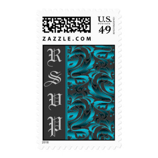 Dark Teal Damask RSVP Wedding Postage