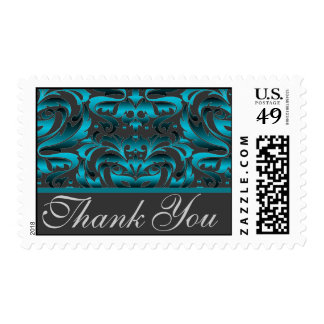Dark Teal Damask Thank You Postage Stamp