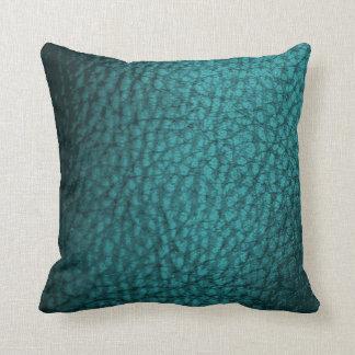Dark Teal Faux Leather Design Throw Pillow