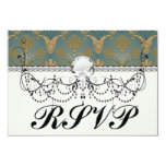 dark teal green and gold damask personalized invites