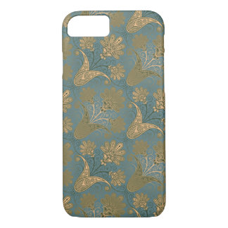 dark teal green and gold damask iPhone 8/7 case