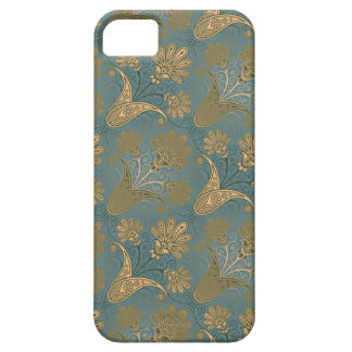 dark teal green and gold damask iPhone SE/5/5s case
