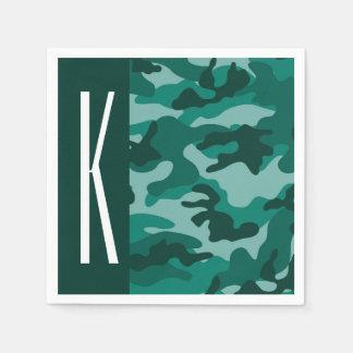 Dark Teal Green Camo; Camouflage Paper Napkins