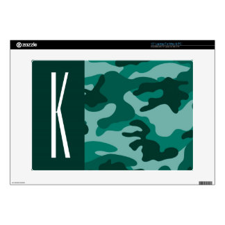 Dark Teal Green Camo; Camouflage Laptop Decal
