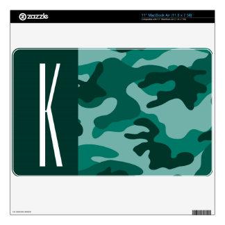 Dark Teal Green Camo; Camouflage MacBook Skin
