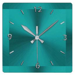 Dark Teal Green Metallic Clock