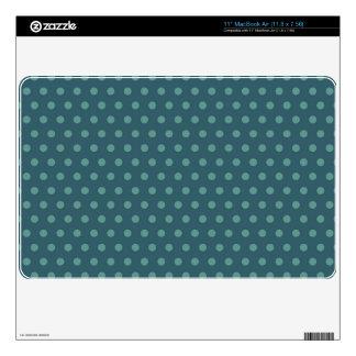 Dark Teal Green Polka Dots Skin For MacBook