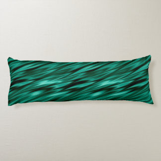 Dark teal green satin waves body pillow
