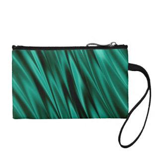 Dark teal green satin waves change purse