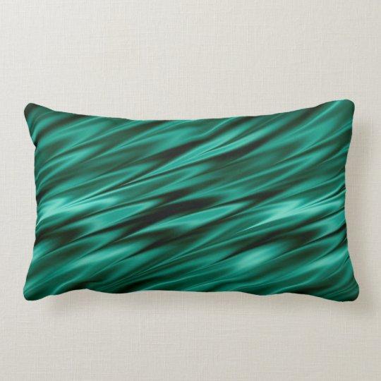Dark teal green satin waves lumbar pillow