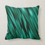Dark teal green satin waves throw pillow
