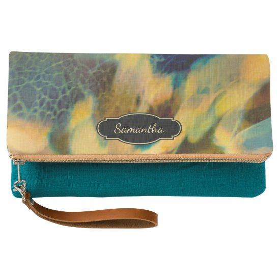 Dark Teal Marbled Abstract with Monogram Clutch